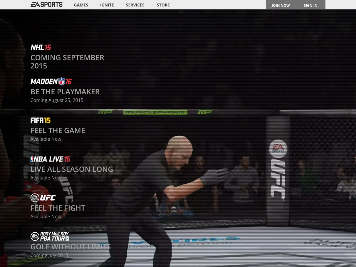 The start of a match in the homepage video on easports.com