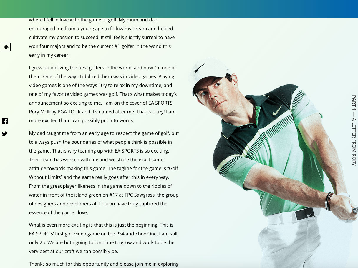 Scrolling advanced Rory though his swing
